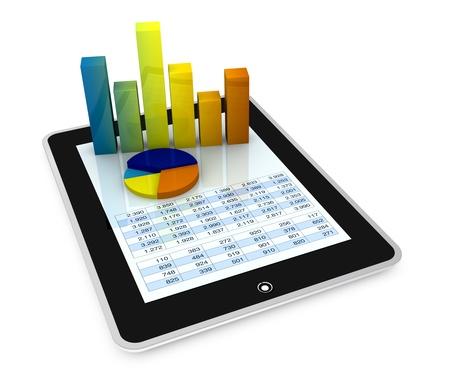 hoja de calculo: tablet uno PC mostrando una hoja de c�lculo con algunos gr�ficos 3d sobre �l (procesamiento)