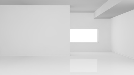 one empty bright  room with one window, the room is all white with no textures (3d render)