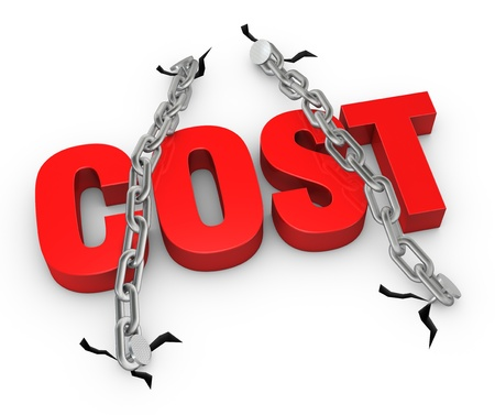 low cost: the word COST fixed with two chains (3d render) Stock Photo