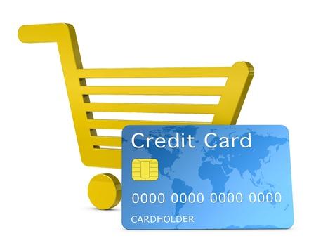 cr�dito: un carro de compras con tarjeta de cr�dito, concepto de compras con pago electr�nico o compras en l�nea (render 3d) Foto de archivo