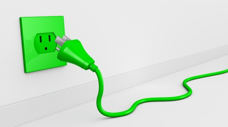 one wall with an electric plug and a cable of green color (3d render). some empty space for text photo