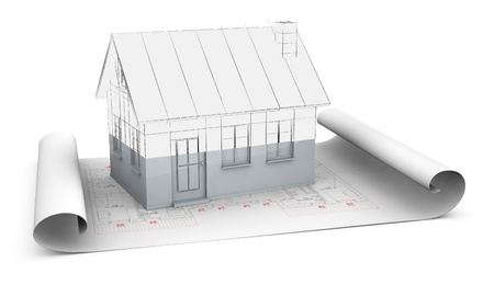one house plan with a house model over it. The house render fades from sketch to solid to show the concept of under construction (3d render) photo