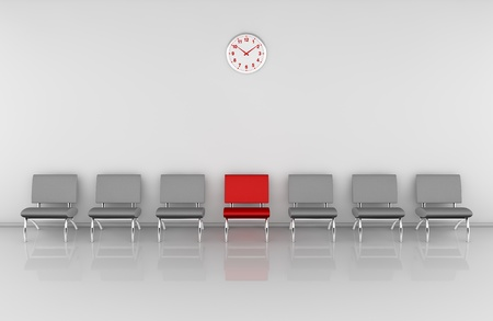 one waiting room with a row of chairs and one of them in different color (3d render)