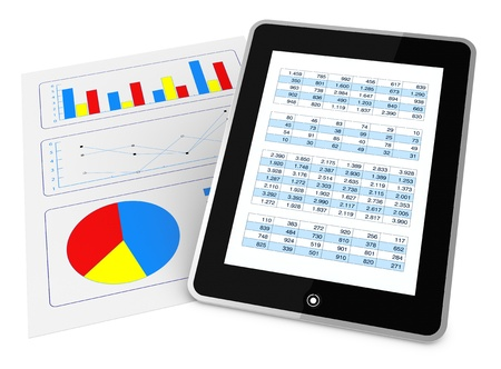 spreadsheets: one paper with charts and a tablet that shows a spreadsheet, concept of tecnology supporting the financial analisys (3d render)