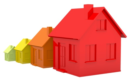 four houses. every house is greater than the previous and has a darker colour (3d render) Stock Photo - 10598670