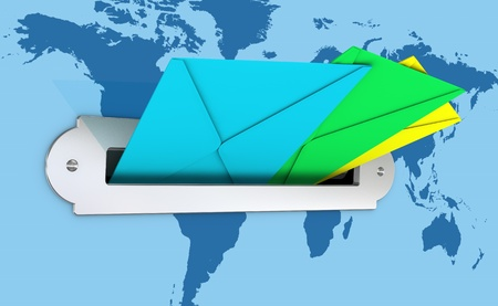 one mailbox with three colored envelopes and a earth map on the background, concept of communication with every part of the world (3d render) photo