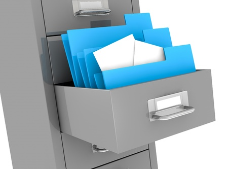 file cabinet: one file drawer with a drawer open and some folders with documents (3d render) Stock Photo