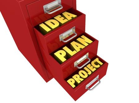 ein Aktenschrank mit drei Schubladen geöffnet und den Worten: IDEA, Plan, Projekt, in ihnen (3d render)