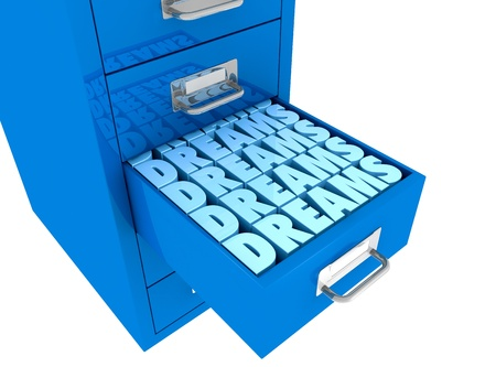 personal development: one file drawer with a drawer open filled with the word DREAMS (3d render) Stock Photo