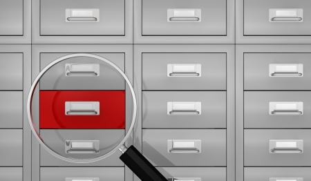 one big office file drawer with a magnifying glass that show a red drawer, concept of search data (3d render) photo