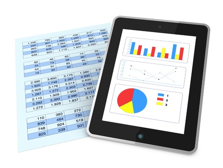 one paper with a spreadsheet and a tablet that shows charts, concept of technology supporting the financial analisys (3d render)
