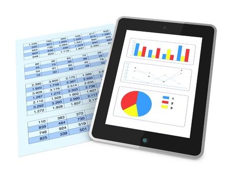 hoja de calculo: un papel con una hoja de c�lculo y un tablero que muestra gr�ficos, concepto de tecnolog�a de apoyo a los an�lisis financieros (render 3d) Foto de archivo