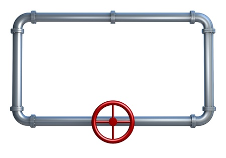 one rectangle made with pipes, with empty space on it for customization (3d render)