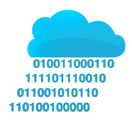 one cloud with rain made of binary numbers (3d render) Stock Photo