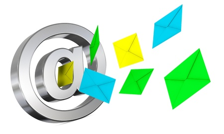 go out: one email symbol with some envelopes that go out or enter (3d render) Stock Photo
