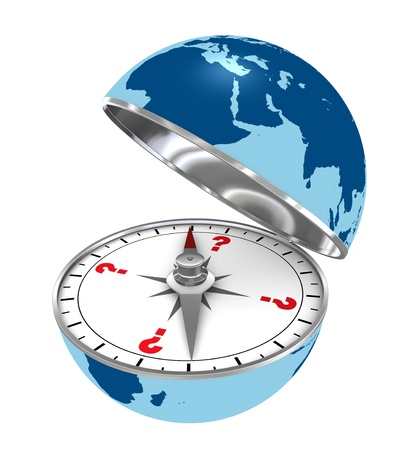 one compass made with a earth globe, with question marks instead of cardinal symbols showing the concept of travel around the world, or unknown destination (3d render) photo