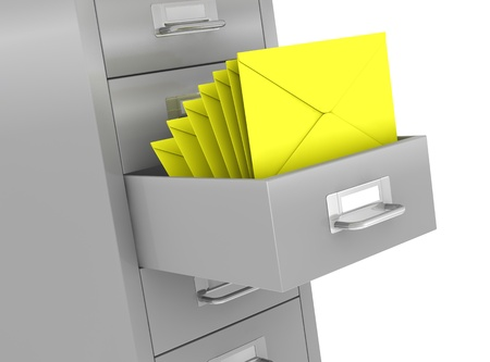 drawers: one file drawer with a open drawer and some envelopes, concept of organize and archive data (3d render) Stock Photo