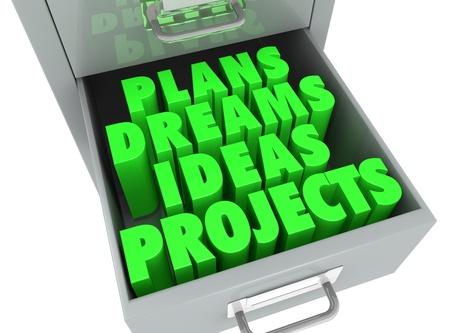 plan de accion: un archivo de cajón con un cajón abierto y algunas palabras sobre él (3d)