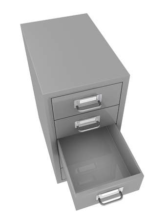 one top view of a file drawer with an empty open drawer (3d render) photo