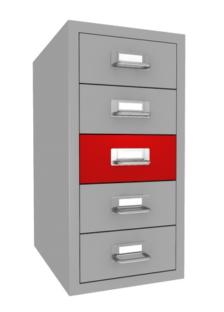 one file drawer with a red drawer (3d render) photo