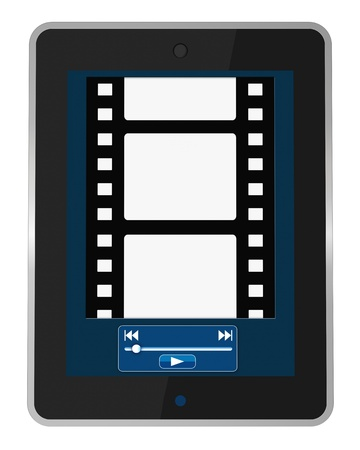 one portable device with a screen that shows a movie reel and  a software media player buttons (3d render) photo