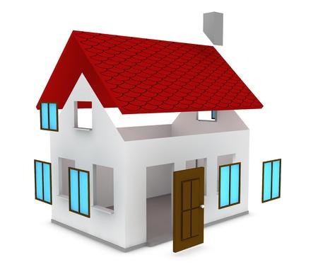 een cartoon huis in aanbouw (3d render)