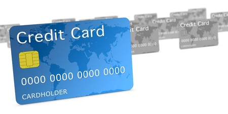 service card: view of a close up of a credit card with many others in background and out of focus, concept of banking services competition (3d render)