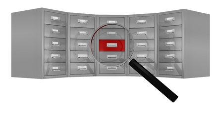front view of a big file drawer with a magnifying glass that focus on a red drawer (3d render) photo