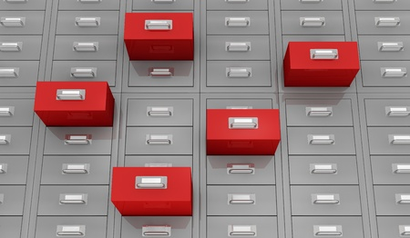 one closeup  view of a file drawer with open red drawer (3d render) photo