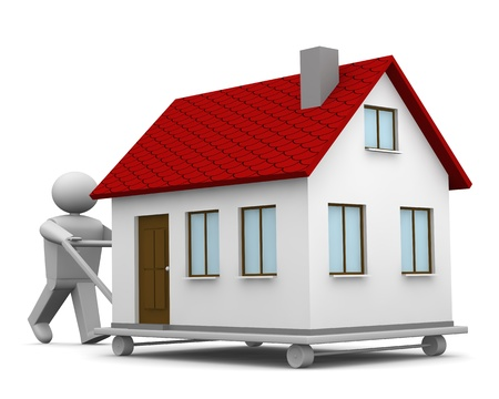 Een 3D man die een huis gaan met een trolley