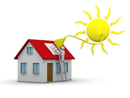 energia solar: hombre que se instala un sistema de energ�a solar en una casa