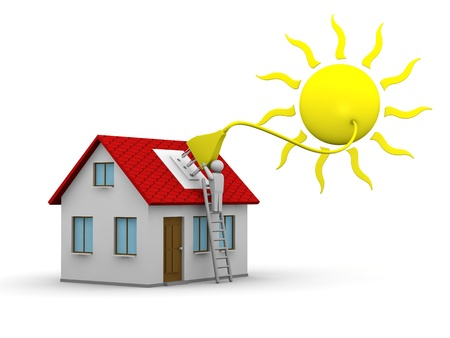 solar equipment: man who installs a solar energy system on a house