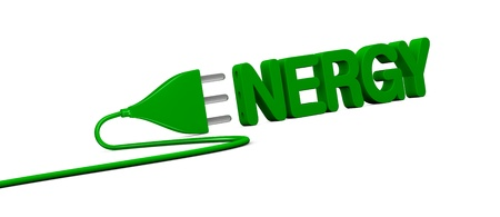 electric plug: the word ENERGY with an electrical plug that forms the letter E (3d render) Stock Photo