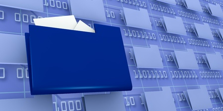 binary file: several pc folders with one in evidence and a background wall with binary code (3d render) Stock Photo