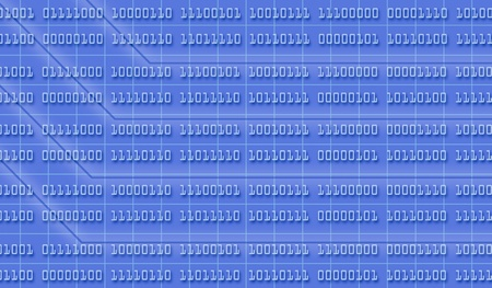 byte: one background made with a grid and binary numbers (3d render)