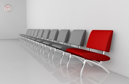 waiting room: one waiting room with a row of chairs and one of them in different color (3d render)