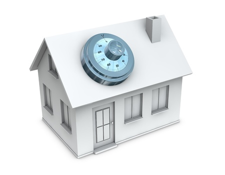 One 3d render of a house with a safe dial coder on the roof. Concept of protection and security Stock Photo - 10626757