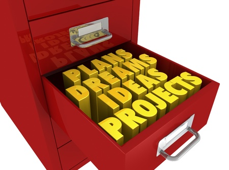 finance background: one file drawer with an open drawer and some words on it (3d render)