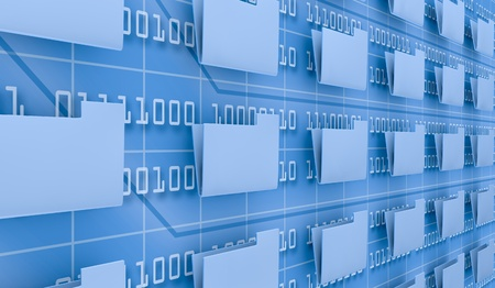 verschillende pc mappen en een achtergrond muur met binaire code (3d render) Stockfoto