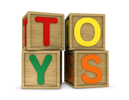 wooden cubes that form the word: TOYS (3d render) photo