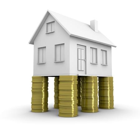 desarrollo económico: una casa de cuatro pilas de monedas (procesamiento 3d)