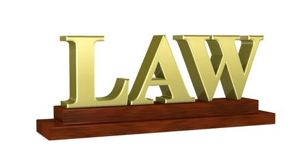 law and order: one name plate with the word: LAW (3d render)