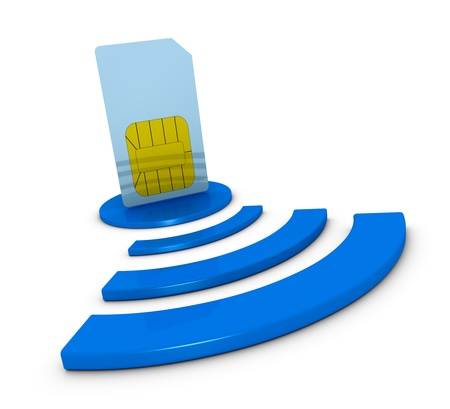 internet service provider: one sim card with the wireless symbol (3d render)