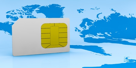 one sim card with the world map on background (3d render) photo