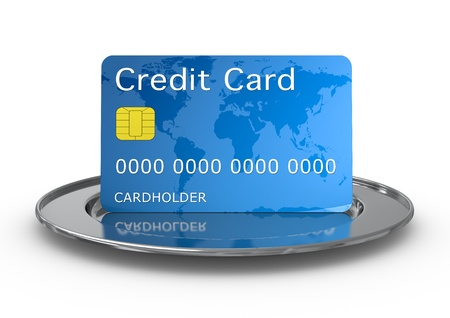 payment icon: one credit card on a silver plate (3d render)