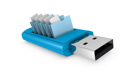 flash drive: one usb key that contains data folders (3d render) Stock Photo