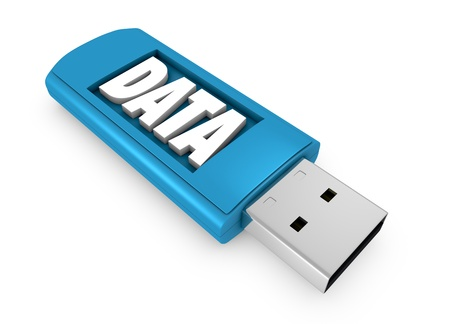 one usb key that contains data (3d render) photo