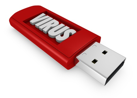 computer memory: one usb key that contains a malware software (3d render) Stock Photo