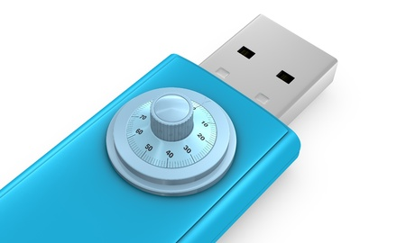 one usb key with a lock combination (3d render) Stock Photo - 10684097