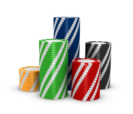 casino tokens: stacks of colored fiches on a white background (3d render)